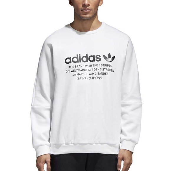 adidas 3 Stripes Crew Neck Sweater Men's Long Sleeve